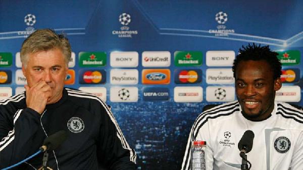 Carlo Ancelotti and Michael Essien