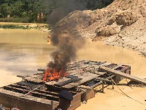 Galamsey equipment being burnt
