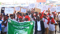 The angry nurses held demo against governments NABCO initiative