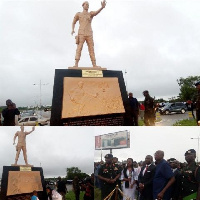 Major Maxwell Adam Mahama's 20-foot monument was unveiled at the Airport Hills Roundabout