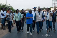 Former President John Mahama with his delegates