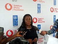 Patricia Obo-Nai addressing the media