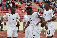 File photo of Asamoah Gyan and team celebrating