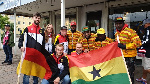 Team Ghana and their German counterparts pose on arrival