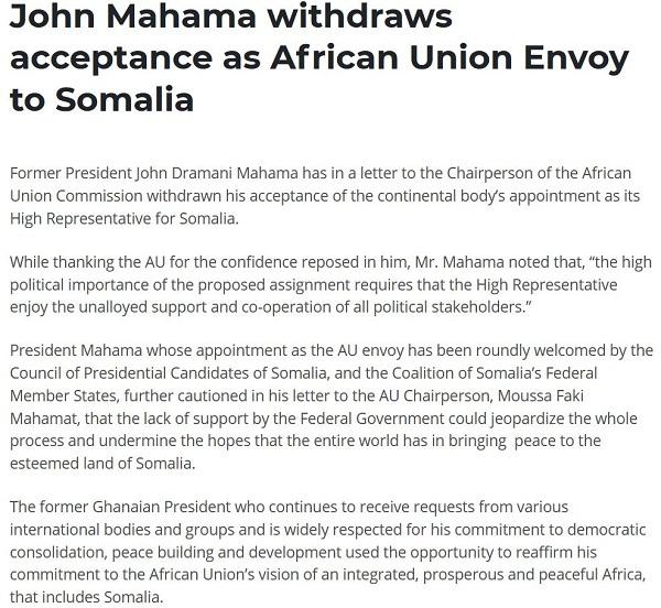 John Mahama formally withdraws acceptance as AU special envoy to Somalia. 51