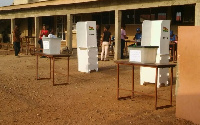 Voters at the polling station
