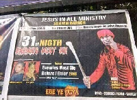 Most churches advertise 31st night themes on billboards, flyers, radio/TV and banners