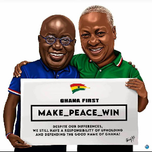 A cartoon depiction of President Akufo-Addo and former President John Mahama preaching peace