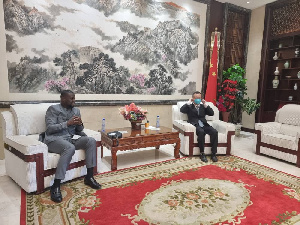 Majority Chief Whip Frank Annoh-Dompreh with Chief Mission of the Chinese Embassy Zhu Jing