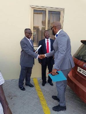 Yaw Ampofo Ankrah exchanging pleasantries with Addo Larbi and and Nana Aborah Boateng