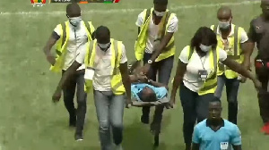 He was rushed to the hospital after he fell in the 80th minute