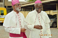 Archbishop Charles Palmer-Buckle (left) with Most Rev. John Bonaventure Kwofie