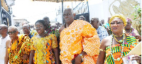 Mrs Elizabeth Ofosu Agyare, in the company of Nii Okwei Kinka Dowuona VI
