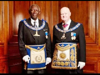 President Kufuor (Left) is a Senior Grand Warden of the United Grand Lodge of England