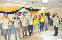 Kofi Asamoah swearing-in the new leadership of the Maritime & Dockworkers Union