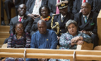 President John Dramani Mahama with First Lady Lordina and Foreign Minister Hanna Tetteh