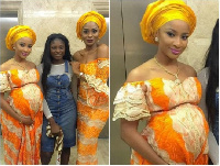 Adesua Etomi is seen with a baby bump in this photo