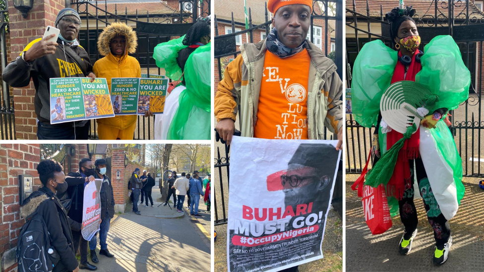 Some of di Nigerians wey dey live for London don stage back-to-back protest against Buhari