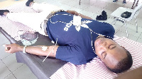 One of the donors giving out blood