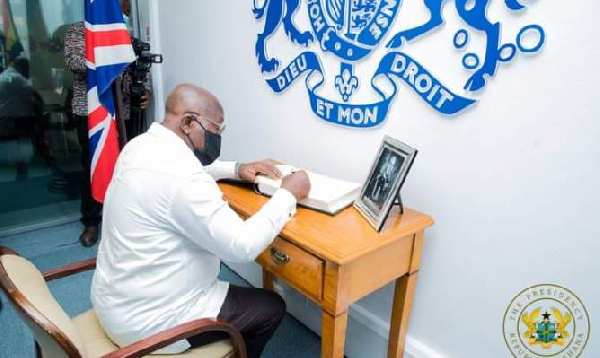 President Akufo-Addo signs book of condolence in honour of Prince Philip