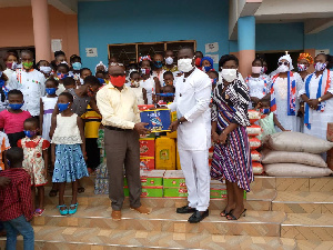 Kwadaso MP donating to the items to the orphanage home