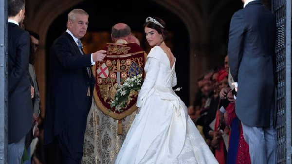 Prince Andrew with his daughter, Princess Eugenie, about to walk down the aisle