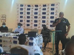 Superintendent Alhaji Abdul-Latif Nbonwura speaking at a forum on violent extremism