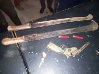 Weapons retrieved from the armed robber