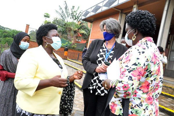 Minister of State for Primary Health Care, Joyce Moriku Kaducu (left)