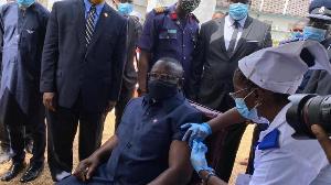 President Julius Maada Bio gets a Covid-19 jab as Sierra Leone rolls out its Covid-19 vaccination
