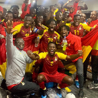 Black Meteors celebrate after beating Algeria 1-0 in Suez