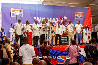 Sylvester Mensah and the NDC team delivering their goodwill message to the NPP at the latter's Natio
