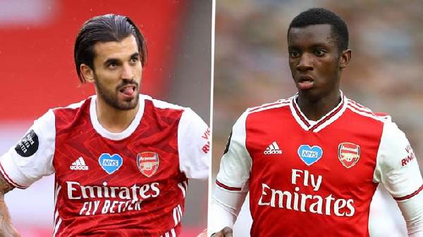 Arsenal team-mates Eddie Nketiah and Ceballos in angry bust-up
