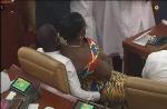Ursula Owusu-Ekuful was seen sitting on the laps of Kwabena Mintah Akandoh