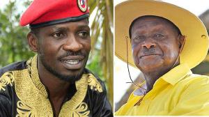 Uganda's presidential challenger Robert Kyangulanyi aka Bobi Wine and President Yoweri Museveni