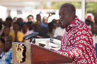 President Mahama addressing the chiefs and the people of Anloga