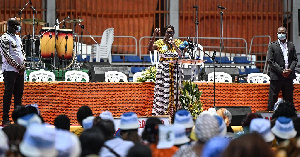 Former first lady Simone Gbagbo (C) delivers a speech as she attends an event