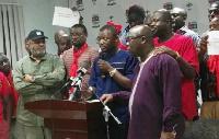 Kofi Adams addressing the presser at the NDC headquarters