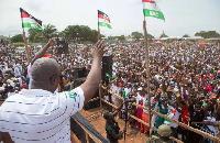 Former President John Mahama addressing scores of NDC sympathisers gathered at the Unity Walk