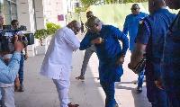 Dr. Mahamudu Bawumia expressing his COVID-19 greeting with Ken Ashigbey