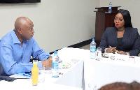 Peace Hyde [R] with Nigerian Senate President