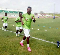 Farouk Mohammed warming up at a training session