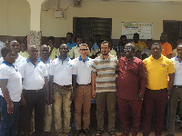 Officials of Happy FM and Lakeside Marina Park in a group photo with staff of Mercy Social Centre
