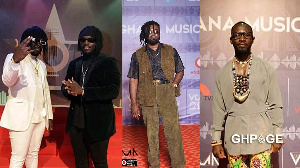 Musicians DopeNation and Okyeame Kwame on the red carpet