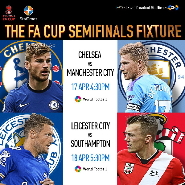 Emirate FA Cup on StarTimes:  Manchester City clash with Chelsea for FA Cup semi finals
