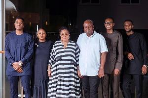 Former President John Dramani Mahama and family