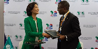 The MoU was signed by Amadou Hott from AFDB and  Hyoeun Jenny Kim, Deputy Director of GGGI