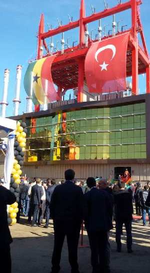 Ghanaian and Turkish officials gather at the port of departure