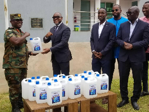 Ghana Armed Forces receiving their share of the sanitizers