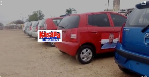 File photo of the cars set to be shared to NPP delegates in Ajumako Enyan Essiam constituency